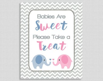 Babies Are Sweet Please Take a Treat Shower TableSign, Blue & Pink Elephant Baby Favor Sign, Neutral, Reveal,  INSTANT PRINTABLE