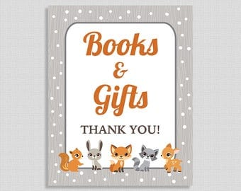 Books and Gifts Baby Shower Sign, Winter Woodland Animals Shower Table Sign, INSTANT PRINTABLE
