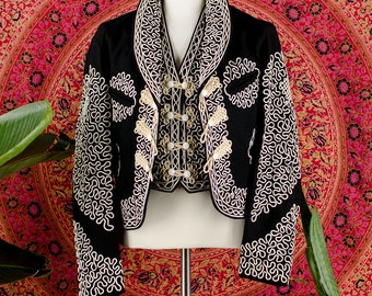 1930's RARE Mariachi Charro Suit Soutache Black White Wool Jacket and Matching Suit Mariachi Two Piece Set XS S