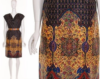 MOVING SALE Rare 1950'S Jewel Silk Mandala Draped Dress Exotic Bohemian Silk Shift Dress Knee Length Dress Medium