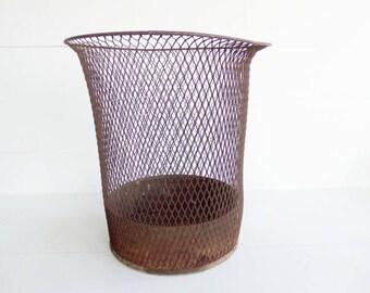 Vintage  Wire Waste Basket, Vintage Office Decor,