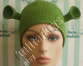 Pdf pattern only knitting yoda hat pattern child adult adult mans size shrek hat ready for shipping dt1010fo