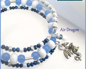 Multistrand Coil Bracelet Silver Dragon Charm Faceted Crystal Glass Blue White Year of the Dragon Jewelry One Size Fits Most