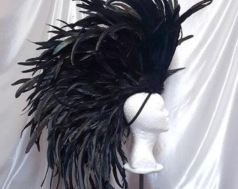 Black Feather Headdress- Feathered Headdress, Mohawk, Tribal Headdress, Large Headdress