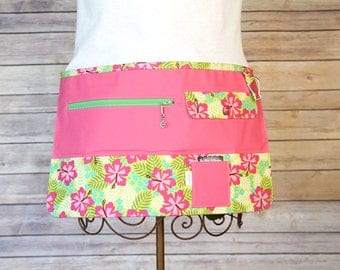 Vendor Apron, Utility Apron, Teacher Apron - Tropical Pink - Ready to Ship