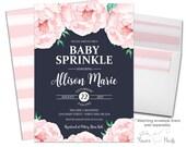 Floral Baby Sprinkle Invitation, Brunch For Baby Invitation, Country Baby Shower, Girl Baby Shower Invitation, Brunch Baby Shower, Navy Baby