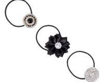 Black Rhinestone Flower Hair Ponytail Set