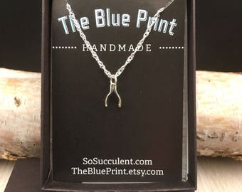 Wishbone Sterling Silver Charm  Pendant Necklace, Make a Wish