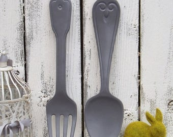 ON SALE Gray  Ex Large Fork And Spoon Kitchen Wall Decor / Over Sized Utensils / Shabby Chic Kitchen / Rustic