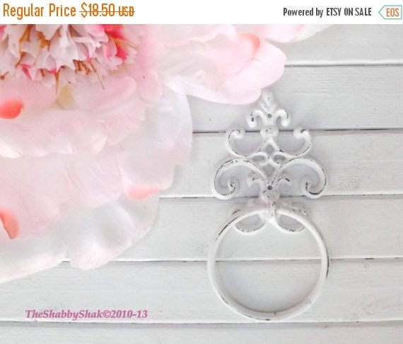 ON SALE Shabby Chic Towel Ring / Cottage Decor / Bathroom/ Towel Hanger / Hand Towel /Bathroom Hook / Fixture / Shabby Chic Decor
