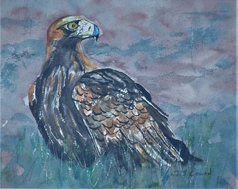 The Golden Eagle an Original Watercolour painting framed.