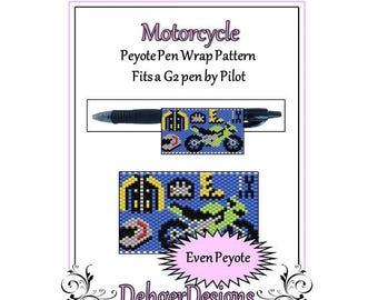 Peyote Beading Pattern (Pen Wrap/Cover)-Motorcycle