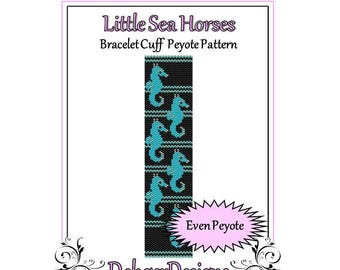 Bead Pattern Peyote(Bracelet Cuff)-Little Sea Horses
