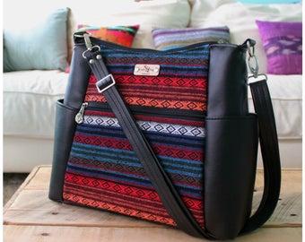 Sarah crossbody bag - black recycled leather bag - Aztec handbag - Aztec satchel bag - tribal handbags - tribal purse - travel bag