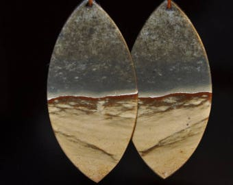 "2 Pieces 20x44x3mm ""Desert View/Earthy Beauty""~SUCCOR CREEK JASPER Light Weight Thin-Cut Marquise Earring Pair Set- I1127"