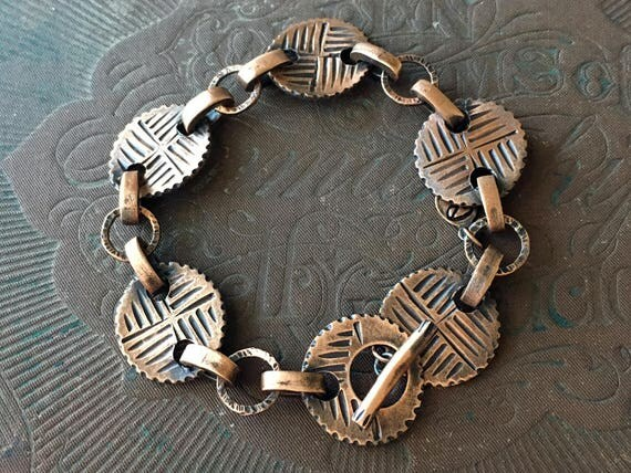 Copper Chain Bracelet | Reversible Bracelet | Carved Jewelry