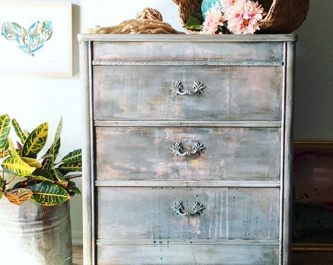 Featured listing image: Painted Distressed Rustic Farmhouse Bohemian Furniture Vintage Decor Shabby Chic