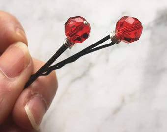 Red Bobby Pins Wire Wrapped Hair Clips Fancy Hair Accessories