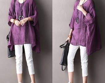 Loose Fitting Plus Size Sheer Linen Cotton Shirt Blouse for Women- Women Clothing