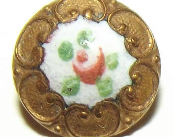 Antique Button ~ Enamel Button ~ Diminutive Button ~ Metal Button