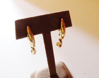 GIVENCHY Gold Pendant Drop Earrings, Clip Earrings, Designer Signed Earrings, French Chic