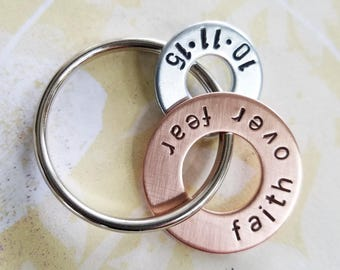 faith over fear Gift - Hand Stamped Copper Washer and hardware washer Keychain - Inspirational Gift