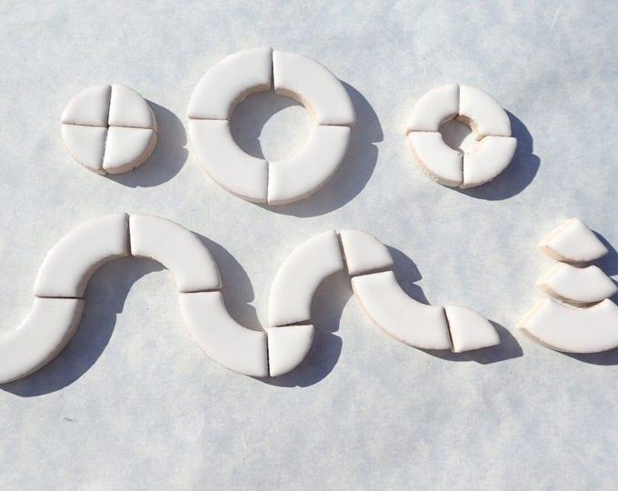 White Bullseye Mosaic Tiles - 50g Ceramic Circle Parts in Mix of 3 Sizes