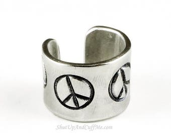 SALE - Peace Sign Ear Cuff - Aluminum Stamped Ear Cuff