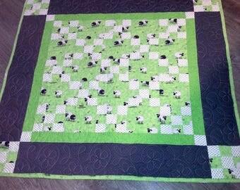 """Child's Quilted Quilt Lamb Design 39""""x43"""""""