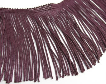 Eggplant 4 Inch Polyester Fringed Chainette Trim
