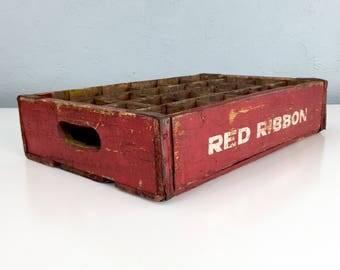 Vintage Red and White Red Ribbon Soda Case Crate, Bottle Box, Wooden Advertising Bottles Display, Wooden Home Decor Collector
