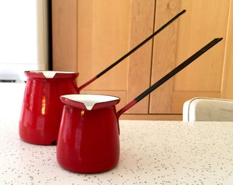 Vintage Red Enamel Pitcher Set - Enamelware Creamer / Turkish Coffee Pot