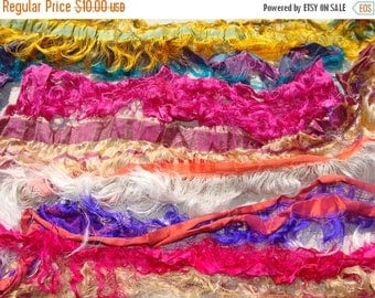 On Sale NEW Super Fancy And Fringy Wide Lightweight Sari Pieces 2 oz. Of Sari Ribbon 3/4 Inch To Over 2 Inches Plus Wide Spin Felt Fiber