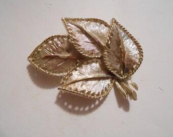 Vintage brooch, BSK signed brooch, retro designer leaf brooch, BSK jewelry, classic madmen1960s brooch