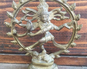 Hindu Lord Shiva Nataraja statue, Shiva brass bronze, Nataraja dancing, Hinduism decor, bohemian decor boho, Indian decor made in India vtg
