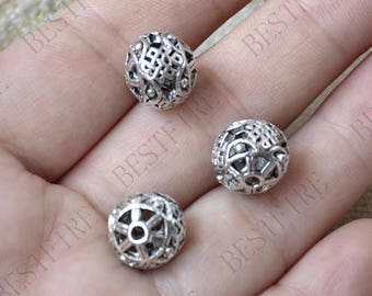 10 pcs of Antique silver hollow out ball partition findings,Charms Bracelet Connectors,Findings beads