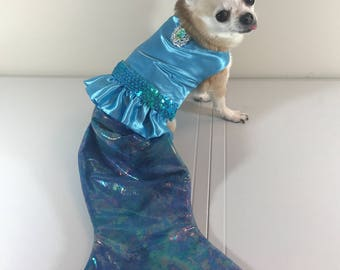 Little Mermaid inspired  dog costume, ocean dog dress, dog costume, custom dog costume, elegant dog costume, creative dog costume, Halloween