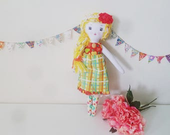 "Heirloom Doll Jane, Blond Doll, Cloth Doll, Fabric Doll, Girl Doll, 17"" Doll, Rag Doll, Soft Toy, Play Doll,"