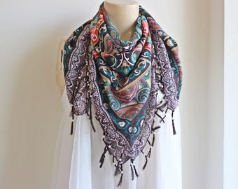 Brown Scarf /Neon Square Scarf with Tassels and Pearls- Tile Pattern Scarf-Ottoman Print Scarf-Turkish Anatolian Scarf-Brown and Ivory Scarf