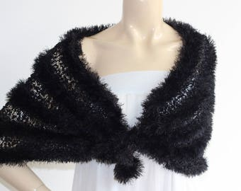 Black Fur Cape/Wedding Wrap Shrug Bolero/Hand Knit Faux Fur Shawl/Vegan Shawl
