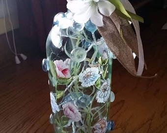 Hand painted wine bottle , with lights