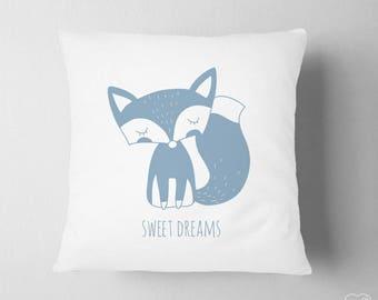 Blue Pillow Nursery, Boy Room Fox Decor, Woodland Name Pillow, Nursery Woodland Decor , Kids Pillow Decor , Sweet Dreams Pillow