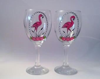 Handpainted Pink Flamingo wine glass