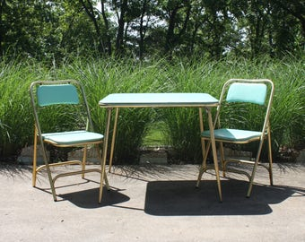 Vintage Folding Card Bridge Table And Chairs Set Aluminum Aqua Vinyl Glitter Covered Atomic Mid Century Modern Retro Poker Camping Glamping