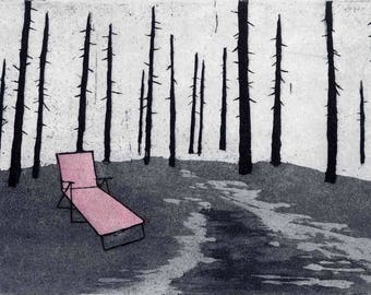 Snow Melt - Original Etching, Aquatint and Chine Colle