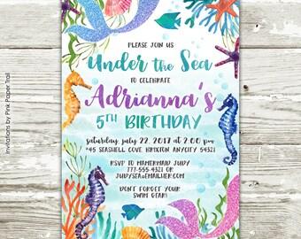 Mermaid Birthday Party Invitation, Glitter Mermaid, Under the Sea Mermaid Ocean Seahorse Seashells Starfish Printable Birthday Invitation