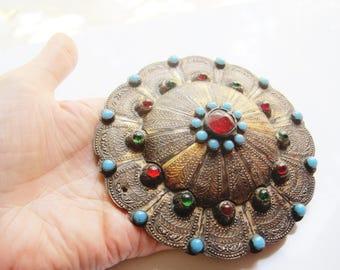 Yomud Turkoman Button, Silver Collar Stud, Huge Pendant, Turkmen Jewelry