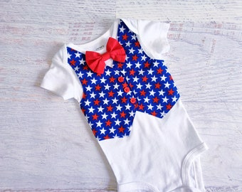 Size 3 Months READY TO SHIP 4th of July Red White and Blue Star Tuxedo Bodysuit Vest with Bow Tie