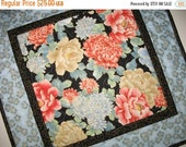 Sale Christmas in July Elegant Table Topper, Asian Floral, Wall Hanging, quilted table runner, handmade, metallic gold, fabric from Red Roos