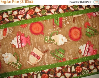 Sale Christmas in July Christmas Table Runner, Christmas Cookies and Hot Cider,  quilted. fabric from Wilmington Prints